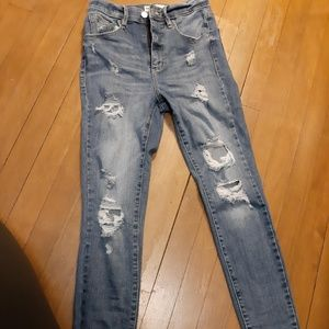 Juniors Dark Distressed Garage Jeans